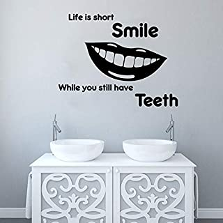 jiuyaomai La Vida es Corta Sonrisa Cita Dientes Tatuajes de Pared Baño Dentista Clínica Dental Diente Etiqueta de la Pared Vinilo Art Mural 56cmwidex43cmhigh