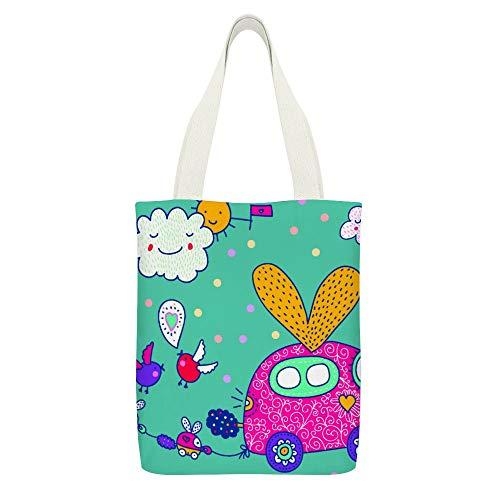 Damen-Handtasche aus Segeltuch, glitzernd, kleines rotes Auto, Cartoon, Liebe, Herz, Wolke, Sonne, Geburt, strapazierfähig, wiederverwendbar, mit Schulterriemen