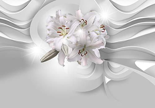 wandmotiv24 Fototapete 3D Effekt Blumen Lilien Relief, XL 350 x 245 cm - 7 Teile, Fototapeten, Wandbild, Motivtapeten, Vlies-Tapeten, Abstrakt Blüten M6097