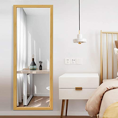 Full Length Floor Mirror 43'x16' Large Rectangle Wall Mirror Standing Hanging or Leaning Against Wall for Bedroom, Dressing and Wall-Mounted Thin Frame Mirror - Champagne
