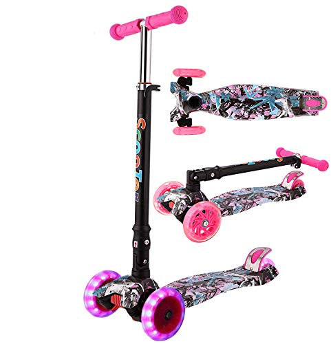 Oppikle 3 Räder Kinder Roller Scooter - Höhenverstellbarer Kinderroller Mit LED Leuchträdern Rollen Und...