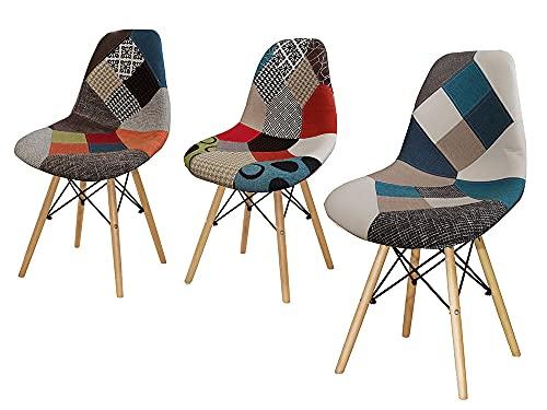 Kasahome Sedie Sedia Sgabello Pouf Patchwork da Casa Ufficio Locale Stile Contemporaneo con Gambe il Legno Modelli Assortiti h83x52x46,5 cm
