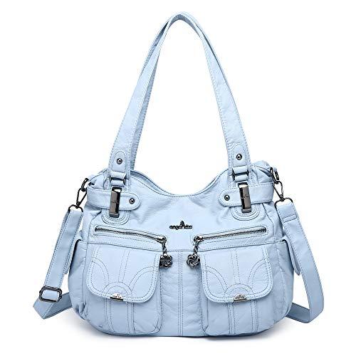 ZOCAI Top-Henkeltaschen PU-Leder Geldbörsen Königin Frauen Handtaschen (5739-1#6802#115#L.BLUE)