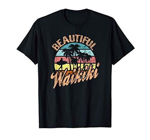 Hawaii Oahu Waikiki Beach Distressed Vintage Surfer Sunset Camiseta