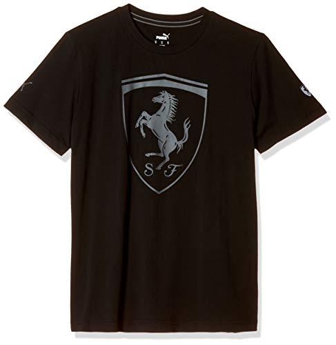 PUMA Ferrari Big Shield Tee Black T-Shirt, Negro, S Uomini