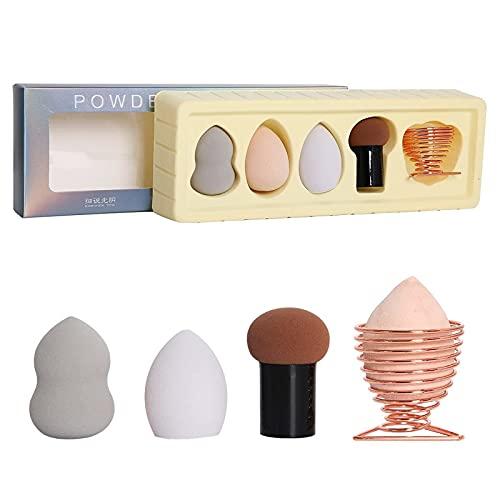 Rfgthp 5 Piezas de Huevos de Belleza Suave, Secos y húmedos, de Doble Uso, no coman Polvo, Conjunto de Huevos de algodón con Soporte de Oro Rosa