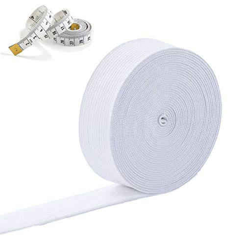 FGG White 5.5Yard Elastic Band Stretch Strap with Measuring Tape for DIY Craft Sewing Clothing (2'/50mm Wide)