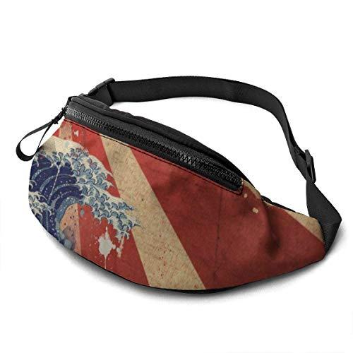 NHCY Die alte japanische Flagge von Sunrise Waist Pack verstellbare Träger Tasche mit Kopfhöreranschluss für Männer & Frauen