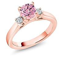 Gem Stone King 1.6カラット ジルコニア (ピンク) 指輪 リング レディース 合成ホワイトサファイア (ダイヤのような無色透明) シルバー925 ピンクゴールドコーティング