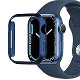 Miimall Kompatibel mit Apple Watch Series 7 41mm 45mm Hülle, Harter PC Schutzrahmen Superdünne Kratzfest Stoßfest Schutzhülle für Apple Watch Series 7 45mm - Blau