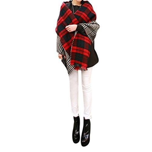Minetom Damen Maedchen Herbst Winter Beidseitig tragbar klassische Kariert Pashminas Schal elegante Stola 172 x 88 cm Rot