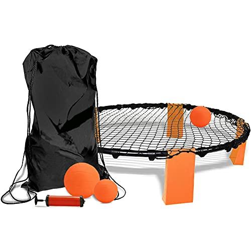 TOPOWN Spiele Ball Set, Roundnet Set mit 3 Bällen, Strike Ball-Spiel, Smackball, Rasenteam Sportspiel, Mini Volleyball Spielset, Spieleset Team Games (Lieferung per DHL innerhalb von 4 Tagen)