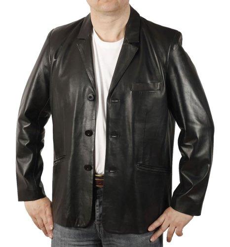 Simons Leather Blazer en Cuir Noir Coupe Classique - Taille 2XL