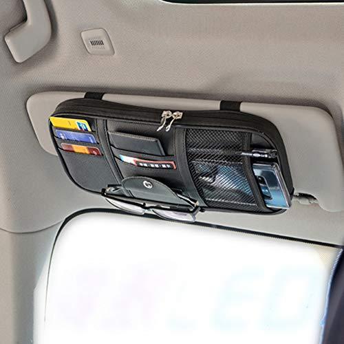 Kartisen Car Sun Visor Organizer, Auto Interior Accessories Pocket Organizer - Car Truck SUV Storage Pouch Holder, with Multi-Pocket Net Zipper (Black)