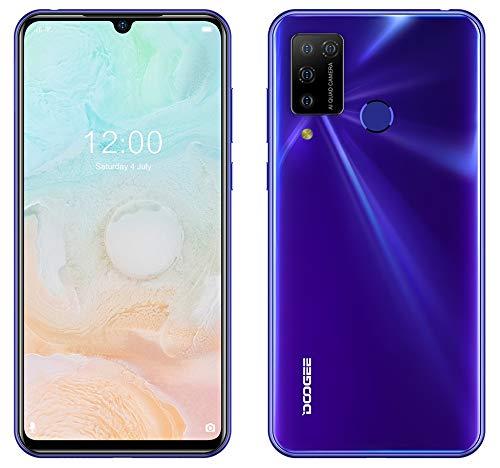 Smartphone Offerta Android 10, DOOGEE N20 PRO (6GB + 128GB) Cellulare, Helio P60 Octa-Core, Fotocamera AI Cinque 16 MP, Schermo FHD+ da 6,3', Batteria 4400 mAh, Face ID Impronta Digitale GPS Viola