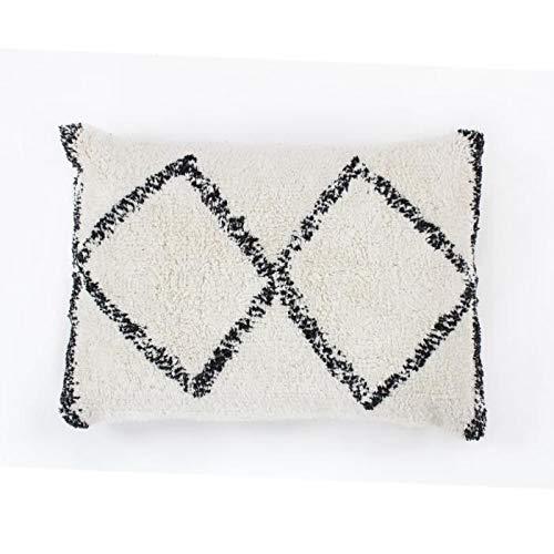 Berber kussen Box - 30 x 50 cm - Beige en zwart