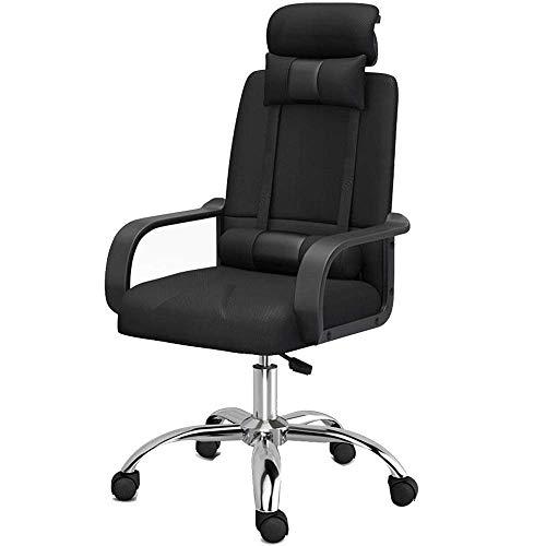 Clásico escritorio de oficina silla de la computadora - ajustable, giratorio, suave microfibra - Negro Mesh, Soporte lumbar SHIJIAN