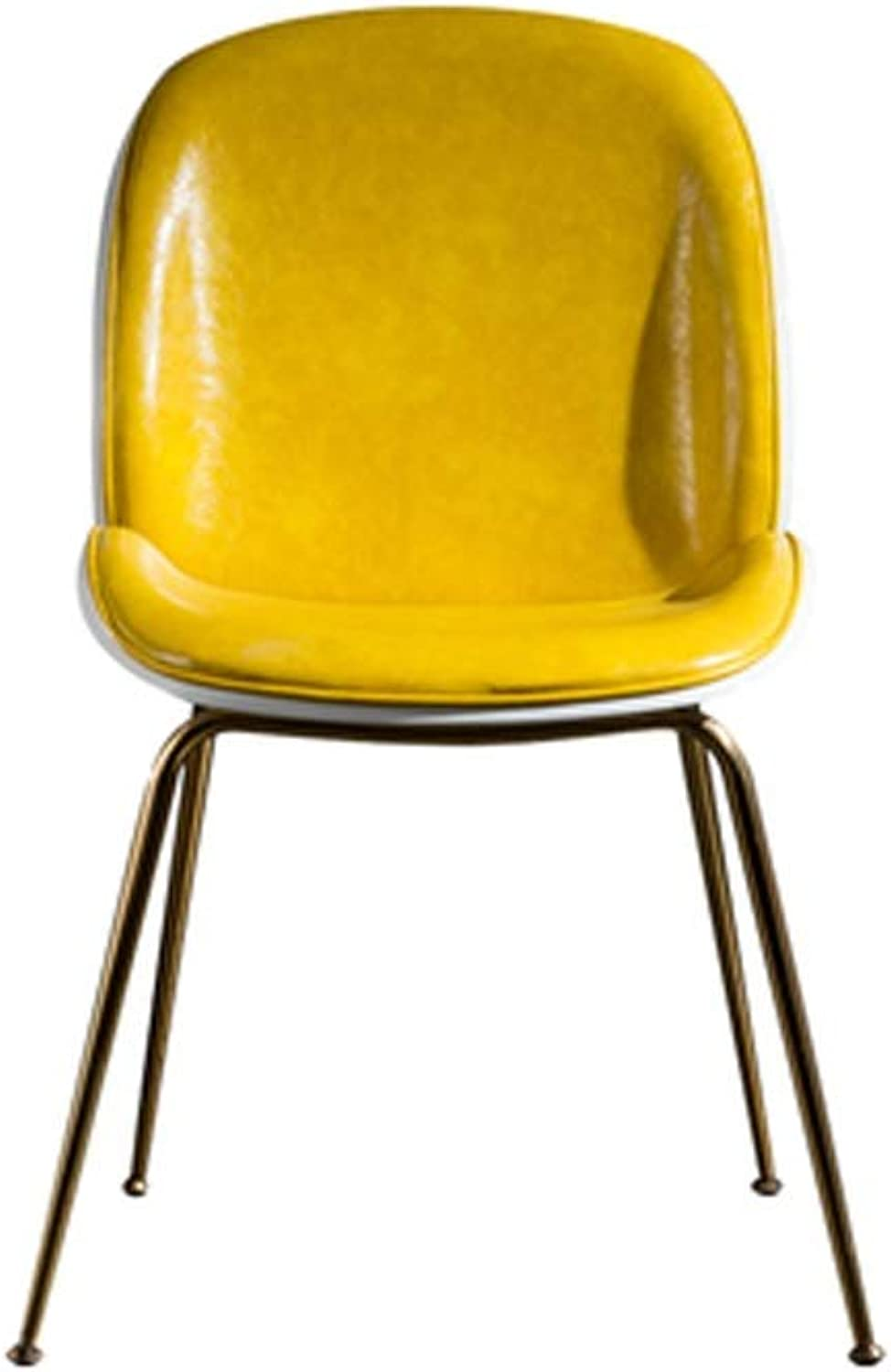 Barstool Nordic bar Stool Home PU Wrought Iron with backrest 3 colors 2 Sizes (color   Yellow, Size   75cm)