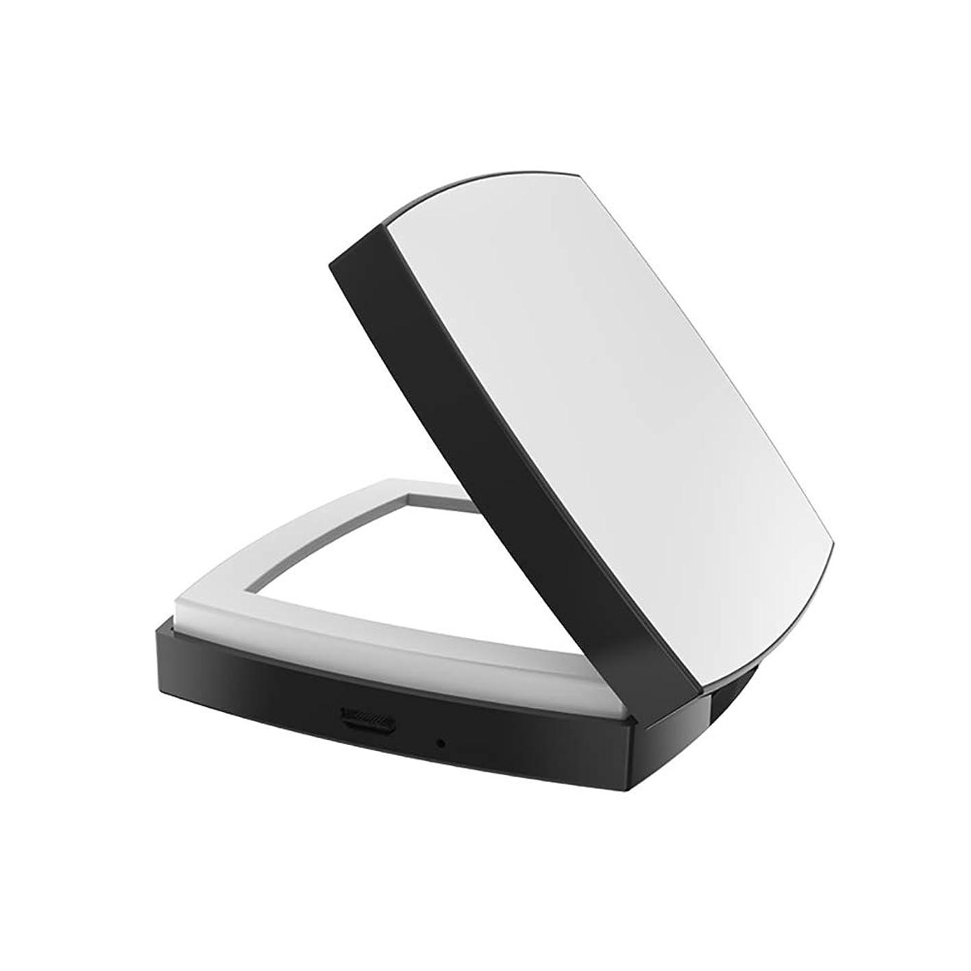 よろめく幻滅する歩き回る手持ち型USB充電式折りたたみミラーのために作動する点灯旅行化粧鏡広場1倍/ 4倍拡大鏡
