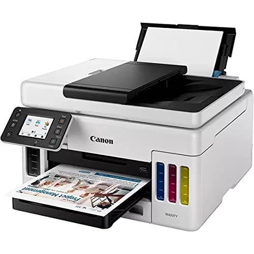 Canon MAXIFY GX6050 MegaTank Multifunktionsdrucker 3in1 (Tintenstrahl, Drucken, Kopieren, Scannen, 50 Blatt ADF, A4, WLAN, LAN, 6,9 cm LCD Touch, Duplex-Druck, niedrige Druckkosten, 350 Blatt) weiß