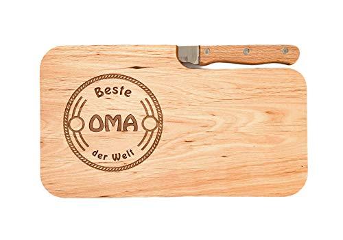 LASERHELD Brotzeitbrett Holz Erle Messer, Beste Oma der Welt, Geschenk Frauen, Schneidbrett Holz, Geschenkidee für Oma