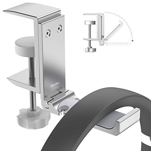 Headphone Stand Foldable Desk Headphones Headset Hanger Holder Under Desk Earphone Holder with Adjustable Clamp Mount Hook Holder Universal Fit Headsets, Umbrellas, Bags, etc (Black)