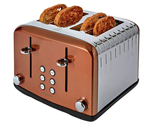 COOKWORKS Pyramid 4 Slice 6 Settings Wide Slot Toaster 2300W - Copper