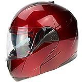 3GO E335 Casco Integrale Moto Borgogna Scooter ECE Omologato Motorino Caschi Donna Uomo con Doppia Visiera Parasole Bici Protezione (Burgandy,L (59-60 CM))