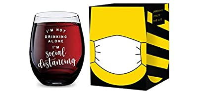Stemless Wine Glass for Social Distancing at Home Made of Unbreakable Tritan Plastic and Dishwasher Safe - 16 Ounces