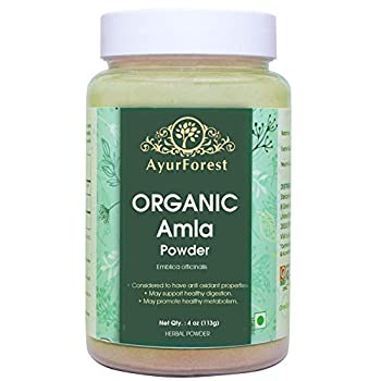 AyurForest Premium Quality Organic Amla Powder - 113 GMS Antioxidant Digestion Certified Organic by OneCert Int & EU Standard