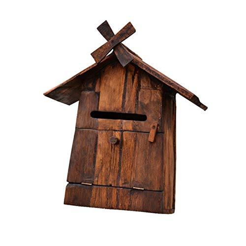 SQQSLZY Postfächer, Postfächer, familiäre Postfächer, Massivholz-Windmühle-Briefkästen an der Tür der Villa, hölzerne Vorschlagsboxen, Beschwerdefelder, wasserdichte Holzpostfächer