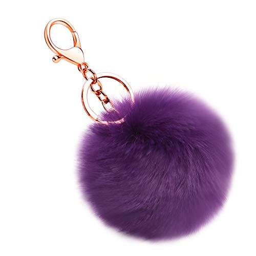 Soleebee Künstliche Kaninchenfell Keychain Flauschigen Ball Pom Pom Schlüsselanhänger Taschen Koffer Rucksäcke Zubehör Charm Auto Schlüsselanhänger Schlüsselring für Frauen Mädchen (Dunkelviolett)