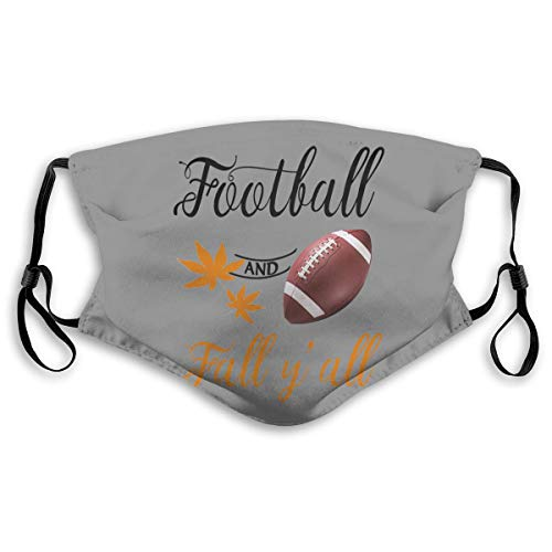 90ioup Football and Fall Y'all Maple Leaf Mouth Mask Windproof Half Face Mask with Filters