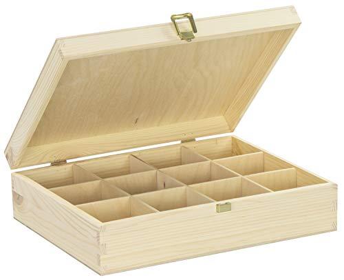 LAUBLUST Große Teekiste 12 Fächer - ca. 29 x 22 x 8 cm, Natur, FSC® - Holz-Teebox mit Metall-Verschluss | Aufbewahrungskiste | Teebeutel-Spender | Küchenbox | Geschenkkiste für Teeliebhaber