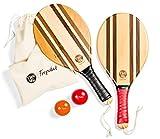 TWO46 speedracket | Set di Racchettoni da Spiaggia fatti a mano in legno per Frescobol/Beach Tennis/Paddle Ball/Matkot | + Borsa e Palline