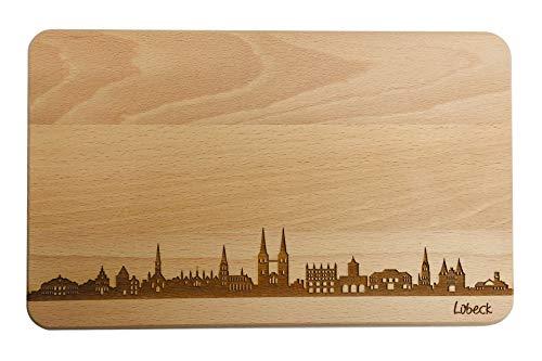 SNEG Brotzeitbrett Lübeck Skyline | Frühstücksbrettchen aus Buche | Holz Schneidbrett | Geschenk mit Gravur | Frühstücksbrett | Schleswig-Holstein (Standard (22x14x1cm), 1. ohne persönlicher Gravur)