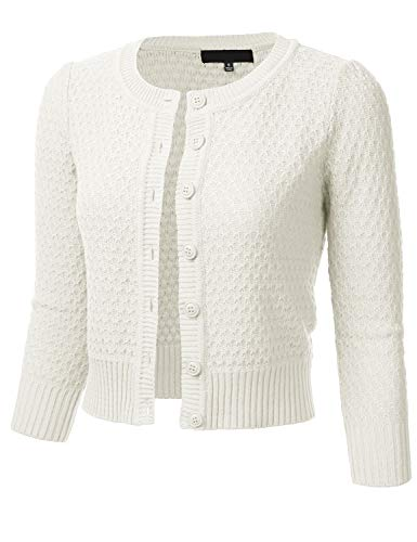 Women's Button Down 3/4 Sleeve Crew Neck Cotton Knit Cropped Cardigan Sweater Ivory M
