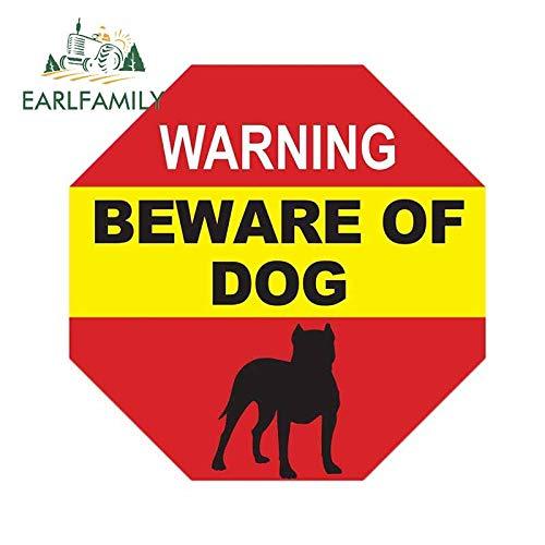 A/X Sticker de Carro 13 cm x 13 cm Cuidado con la señal de Advertencia de Perro Pitbull Etiqueta de la Ventana Perro en Las instalaciones Señal No se aferra a la Ventana