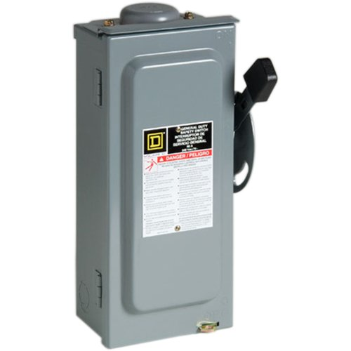 Square D by Schneider Electric D322NRB 60-Amp 240-Volt Three-Pole Outdoor General Duty Fusible Safety Switch with Neutral, Gray