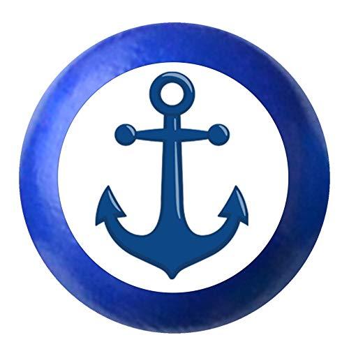 Kommodenknauf Möbelknauf Möbelknopf Möbelgriff Jungen hellblau dunkelblau blau Massivholz Buche - Kinder Kinderzimmer Anker dunkelblau maritim - ultramarinblau