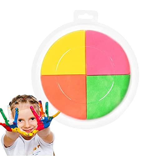 Fencelly Colores tinta Pad Stamp, lavable DIY pintura dedo artesanía tarjeta hacer niños aprendizaje educación dibujo juguetes