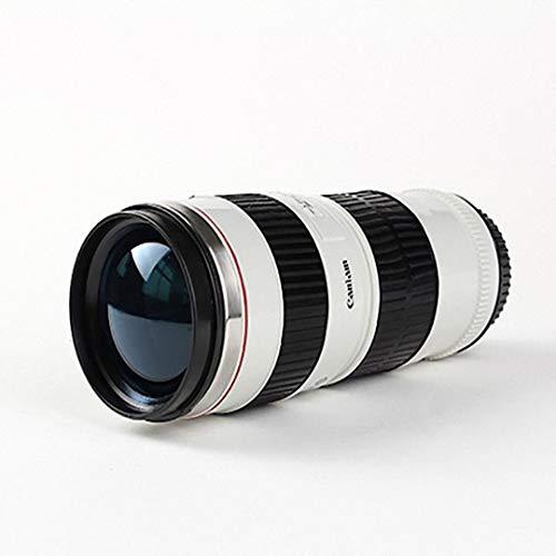 Telihome Taza de la Lente de la cámara Creativa de Bloqueo de Acero Inoxidable Termo Lente Caliente Tazas de café 440ml, Blanco
