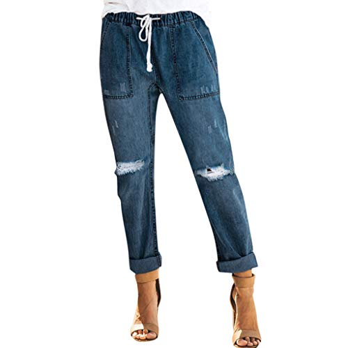 WOZOW Damen Jeans Zerrissene Destroyed Ripped Washed Destroyed Distressed Loose Lose Long Lang Denim Freizeithose Stoffhose Casual High Waist Straight Leg Slim Trousers (2XL,Dunkelblau)