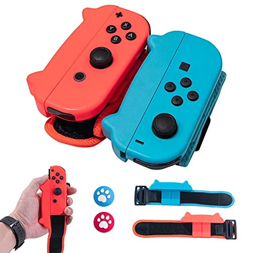 HLRAO Paquete de 2 pulseras de actualización compatibles con el controlador Joy-Con de Nintendo Switch, cómoda correa elástica ajustable para juegos de Just Dance para adultos 2021/2020/2019.