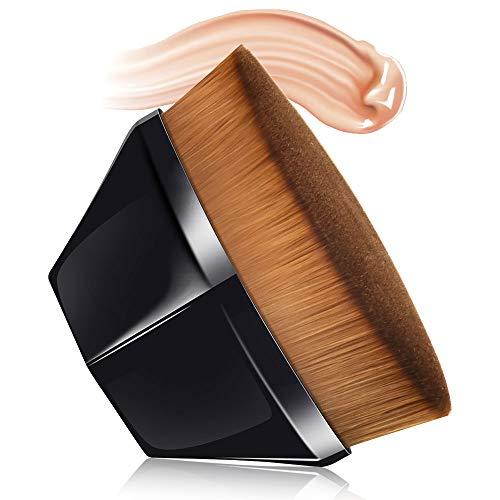 Foundation Pinsel, MS.DEAR Make up Foundation Bürste, Profi Make up Pinsel Flat Top Gesicht Groove Design Burste Soft zum Mischen von Flüssigkeit, Blush, Creme und Concealer (Schwarz + Schutzhülle)