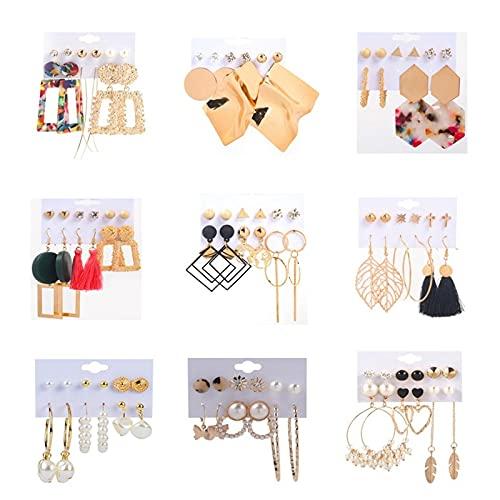 1 pieza de pendientes para mujer, juego de 9 piezas, estilo vintage, con borla de perlas, aros