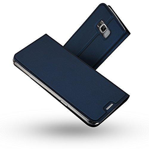 RADOO Galaxy S8 Hülle,Galaxy S8 Lederhülle, Premium PU Leder Handyhülle Brieftasche-Stil Magnetisch Klapphülle Etui Brieftasche Hülle Schutzhülle Tasche für Samsung Galaxy S8 (Blau)