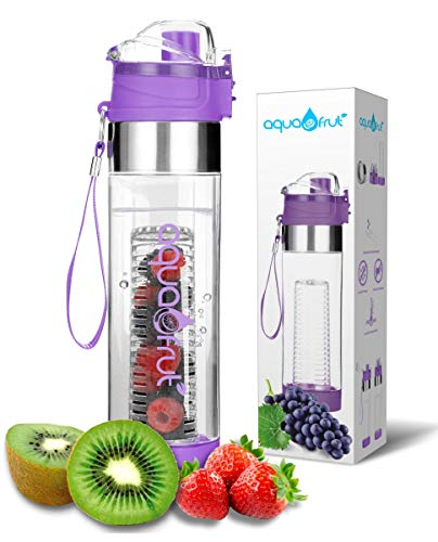 NEW Improved Unique Bottom Loading Fruit Infuser Water Bottle Complete Bundle Includes Bottle Brush, Insulating Sleeve & Infusion Recipe eBook. Leak Proof Sweat Proof BPA-Free (Purple)