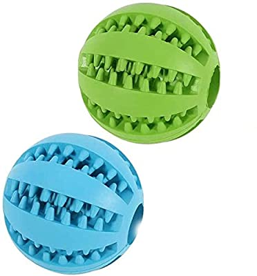 HomeBuy 2 pcs Dog Toy Ball, Dog Treat Ball Dog Balls Pet Bite Toy, Chew Ball Toy Cleaning Teeth Multifunction for Pet Dogs, Interactive Toy Ball Feeder Chew Tooth Cleaning Ball