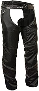 Milwaukee Men`s Textile Chap with Leather Trim Detailing (Black, Small)